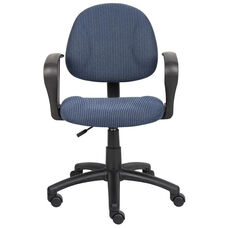 Deluxe Thick Padded Posture Chair with Lumbar Support and Loop Arms - Blue