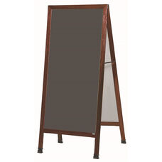 Extra Large A-Frame Sidewalk Board with Slate Colored Porcelain Chalkboard and Cherry Stain Finished Solid Red Oak Frame - 30