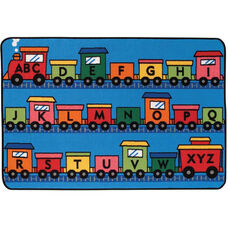 Kids Value Alphabet Train Rectangular Nylon Rug - 36