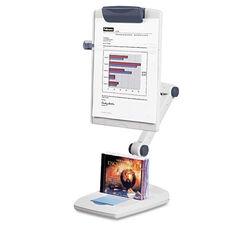 Fellowes® Flex Arm Weighted Base Copyholder - Plastic - 150 Sheet Capacity - Platinum