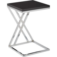 Ave Six Wall Street Multi-Purpose Side Table with Chrome Frame - Black