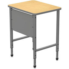 Apex Series Height Adjustable Stand Up Desk with PVC Edge - Fusion Maple Top with Gray Edge and Legs - 30