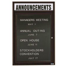 1 Door Indoor Illuminated Enclosed Directory Board with Header and Black Anodized Aluminum Frame - 24