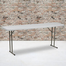 6-Foot Granite White Plastic Folding Training Table