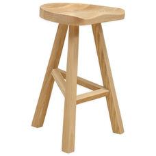 Hemi Indoor Wood Stool with Hardwood Seat - Natural