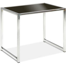 Ave Six Yield Tempered Glass End Table with Chrome Finished Steel Base - Black
