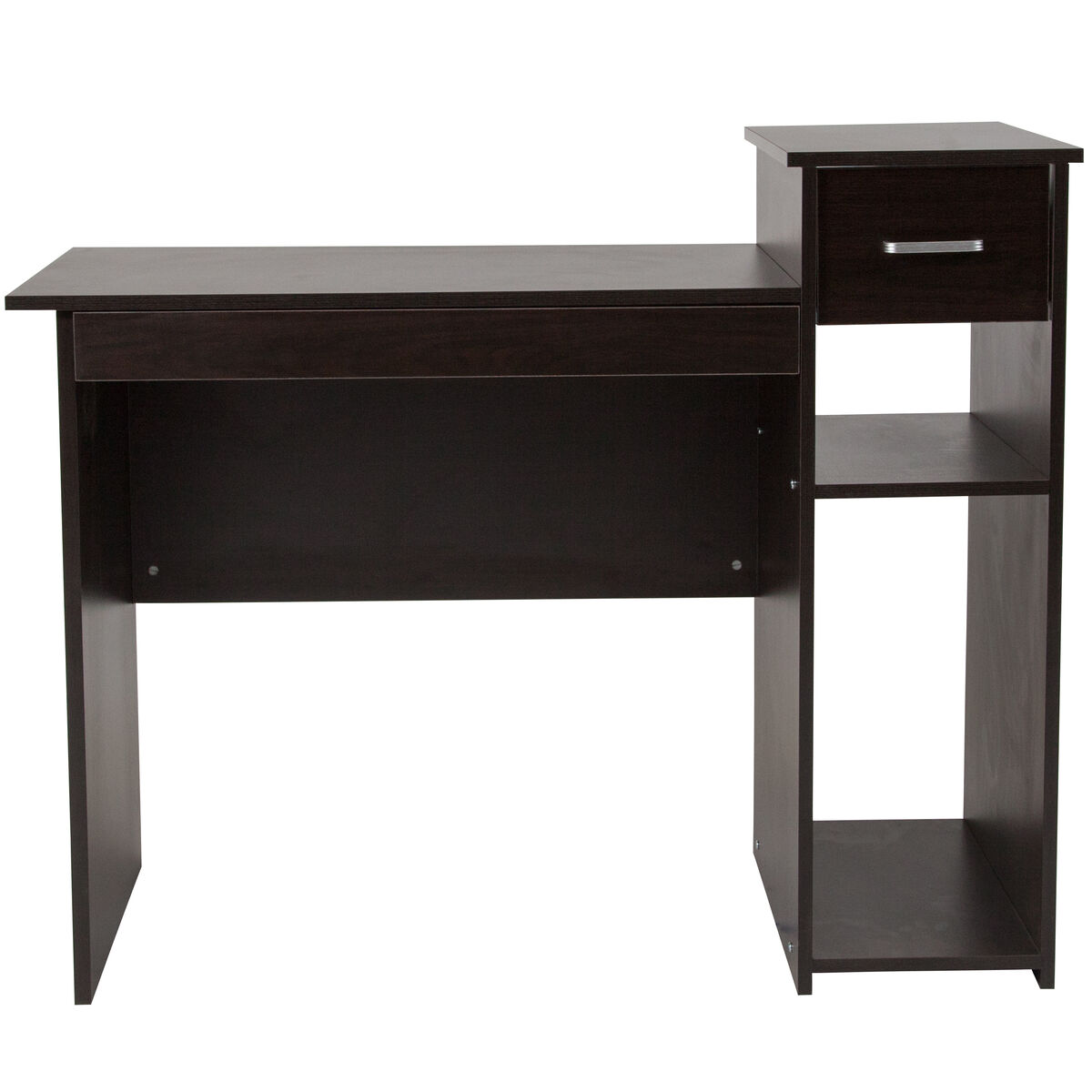 Our Highland Park Espresso Wood Grain Finish Computer Desk With Shelves And Drawer Is On