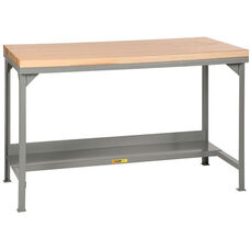 Steel Workbench with Butcher Block Top and Lower Half Shelf