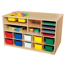 Double Sided Healthy Kids Plywood Mobile Storage Island with 12 Assorted Cubby Trays - Assembled - 49