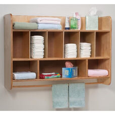 New Wave Hang On The Wall Birch Laminate Diaper Unit with Towel Rod