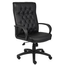 High Back Button Tufted Executive Chair - Black