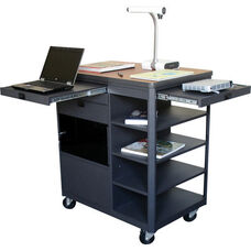 Vizion Presenter Multimedia Cart with Acrylic Doors and Four Side Shelves - Cherry Laminate