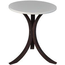 Niche Mia 18'' Round Bentwood Side Table - Beige Top with Walnut Legs
