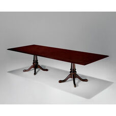 Governors Rectangular Conference Table with Queen Anne Bases - Engraved Executive Mahogany