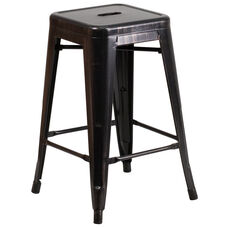 """Commercial Grade 24"""" High Backless Black-Antique Gold Metal Indoor-Outdoor Counter Height Stool with Square Seat"""