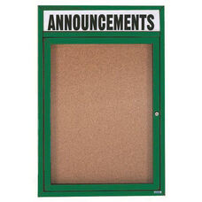 1 Door Indoor Enclosed Bulletin Board with Header and Green Powder Coated Aluminum Frame - 24