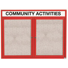 2 Door Outdoor Illuminated Enclosed Bulletin Board with Header and Red Powder Coated Aluminum Frame - 36