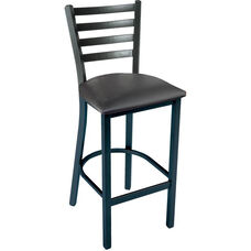 3316 Series Square Steel Frame Armless Cafe Barstool with Contoured Metal Ladder Back and Upholstered Seat