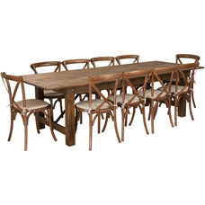 HERCULES Series 9' x 40'' Antique Rustic Folding Farm Table Set with 10 Cross Back Chairs and Cushions