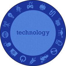 Kid Essentials STEAM ''Technology'' Nylon Rug with SoftFlex Backing - Blue - 64'' Diameter