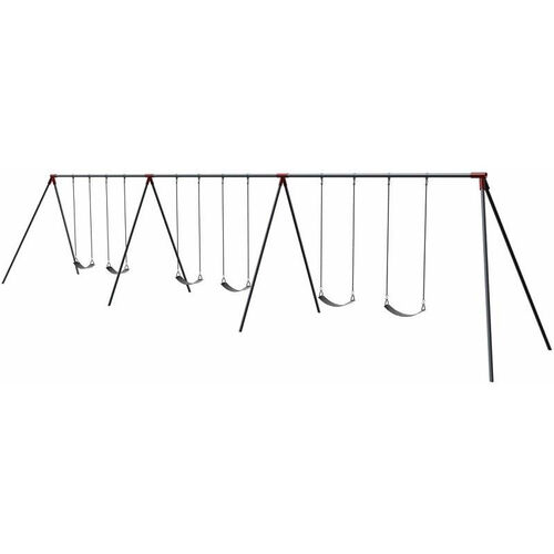 Our Six Seat Primary Bipod Swing Set with Galvanized Swing Chains and Thirteen Gauge Steel Frame - 96