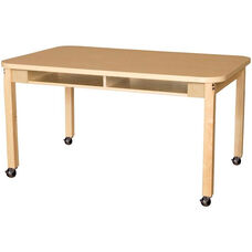 Mobile Two-Seater Classroom High Pressure Laminate Desk with Hardwood Legs - 48