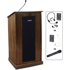 Chancellor Wireless 150 Watt Sound and Microphone Lectern - Walnut Finish - 24