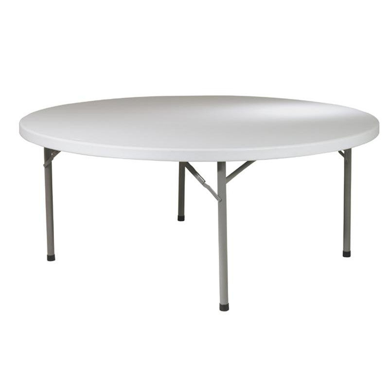 ... Our Work Smart 71u0027u0027 Round Resin Multi Purpose Folding Table With Powder  Coated