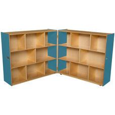 Wooden 16 Compartment Double Folding Mobile Storage Unit - Blueberry - 96