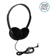 Black On-Ear Personal Economical Headphones with Foam Ear Cushions and Background Noise Reducing Capabilities - Set of 200 Headphones