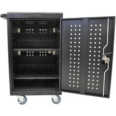 Locking Steel 30 Tablet/Chromebook Charging Cart - Black - 24.5
