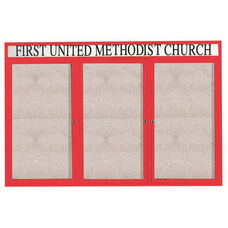 3 Door Outdoor Enclosed Bulletin Board with Header and Red Powder Coated Aluminum Frame - 48