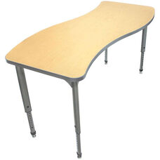 Apex Series Height Adjustable Wave Activity Table - Fusion Maple Top with Gray Edge and Legs - 60