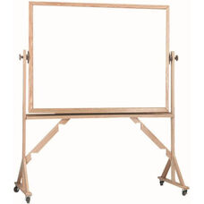 Reversible Free Standing White Porcelain Marker Board with Red Oak Frame