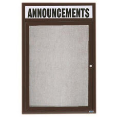 1 Door Outdoor Illuminated Enclosed Bulletin Board with Header and Bronze Anodized Aluminum Frame - 24