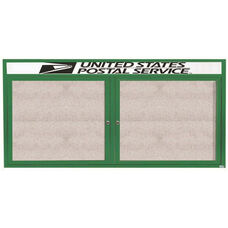 2 Door Outdoor Illuminated Enclosed Bulletin Board with Header and Green Powder Coated Aluminum Frame - 36