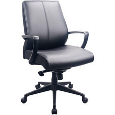Tempur-Pedic® Leather Mid Back Chair - Black