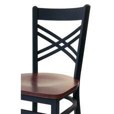 Akrin Metal Cross Back Barstool - Black Wood Seat