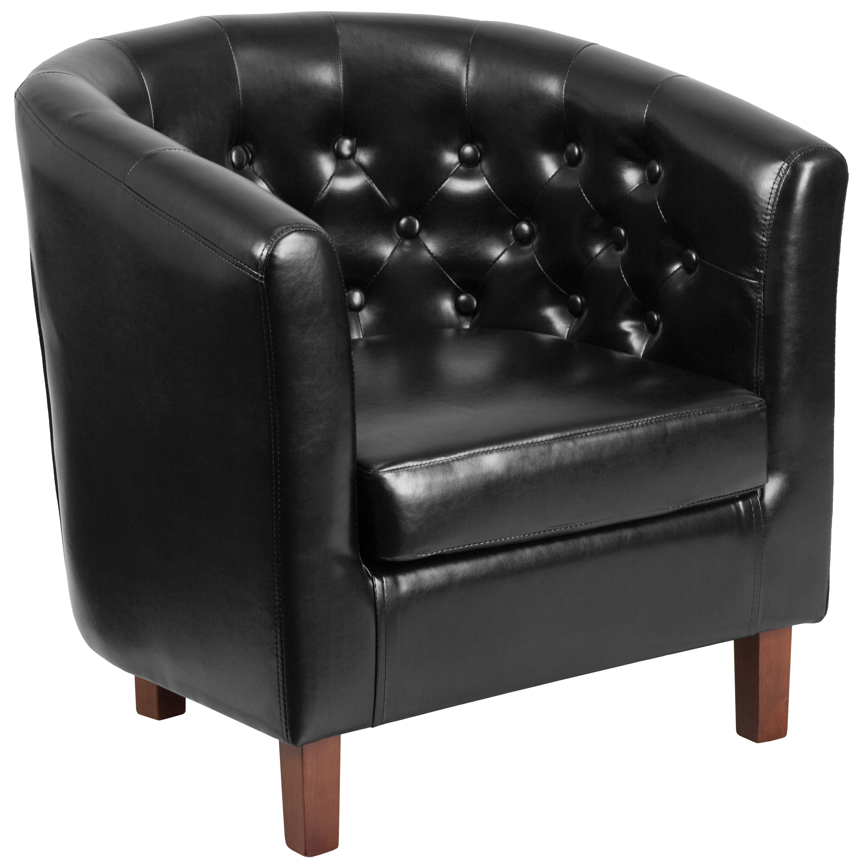 ... Our HERCULES Cranford Series Black Leather Tufted Barrel Chair Is On  Sale Now.