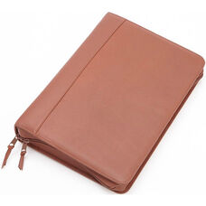 Deluxe Convertible Zip Around Binder Folio - Top Grain Nappa Leather - Tan