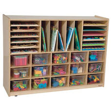 Multi-Storage Healthy Kids Plywood Unit with Fifteen Clear Cubby Trays and Seventeen Other Storage Compartments - Assembled - 48