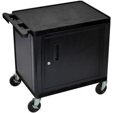 2 Shelf Mobile A/V Utility Locking Cabinet Cart with Handle - Black - 24