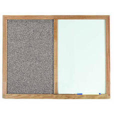 Gray Fabric Tack Board Next to a Melamine Marker Board with Wood Frame