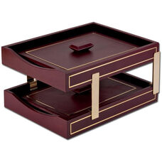 24Kt Gold Tooled Double Front Load Letter Trays with Lids - Burgundy