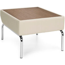 Triumph Laminate Top Table with Vinyl Border and Chrome Feet - Cream Vinyl with Bronze Top