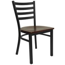 HERCULES Series Black Ladder Back Metal Restaurant Chair - Mahogany Wood Seat