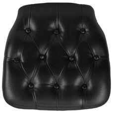 Hard Black Tufted Vinyl Chiavari Chair Cushion