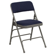 HERCULES Series Curved Triple Braced & Double-Hinged Navy Fabric Metal Folding Chair