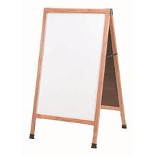 A-Frame - Sidewalk White Melamine Marker Board with Solid Red Oak Frame - 42