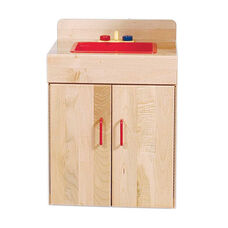 Pretend Play Solid Maple Kid Sink - Assembled - 19.5